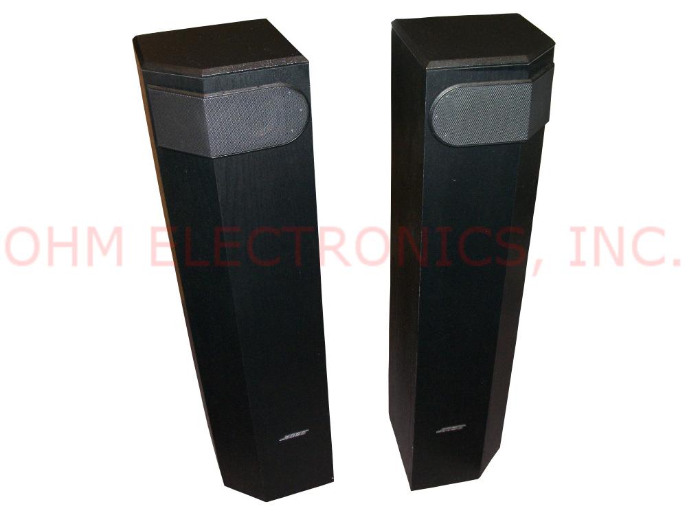 bose 501 series v pair of black tower floor speakers. Black Bedroom Furniture Sets. Home Design Ideas